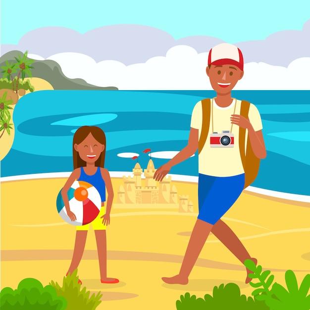 Vacanze estive sulla spiaggia Vettore Premium