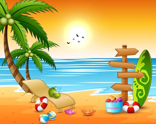 Fondo della spiaggia di vacanze estive con la freccia di legno Vettore Premium