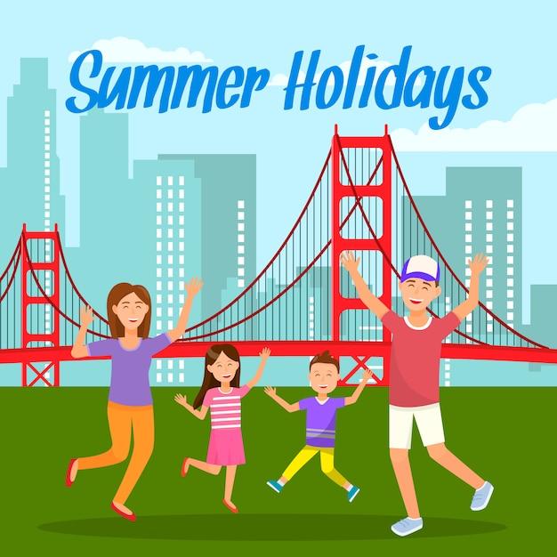 Summer holidays lettering travel postcard Vettore Premium