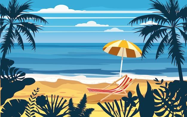 Spiaggia del mare dell'oceano del paesaggio di vista sul mare della sedia a sdraio dell'ombrello di vacanze estive di vacanza, costa, foglie di palma Vettore Premium
