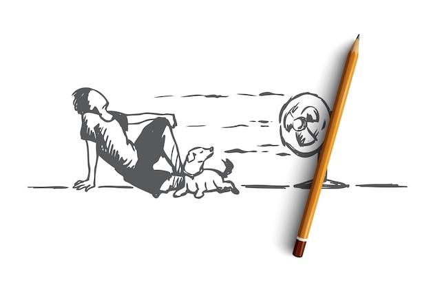 Estate, caldo, uomo, concetto di cane. uomo disegnato a mano posa sul pavimento con il cane e godersi il vento freddo dallo schizzo del concetto di ventilatore elettrico. Vettore Premium