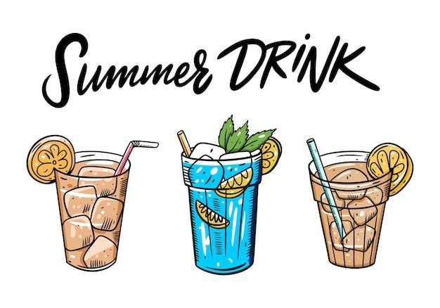 Servizio da tè freddo estivo. cartoon illustrazione piatta. isolato su sfondo bianco. design per menu caffetteria e bar. Vettore Premium