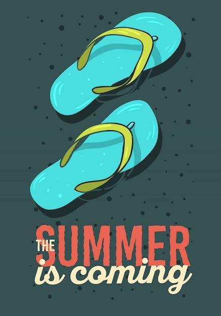 L'estate sta arrivando poster design con flip flops pantofole scarpe da spiaggia illustrazioni disegnate a mano. grafica vettoriale. Vettore Premium