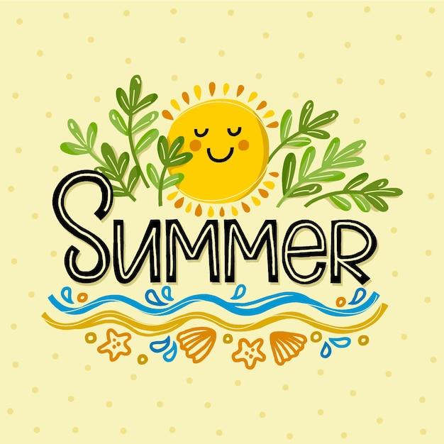 Scritte estive sulla sabbia con il sole di smiley Vettore Premium