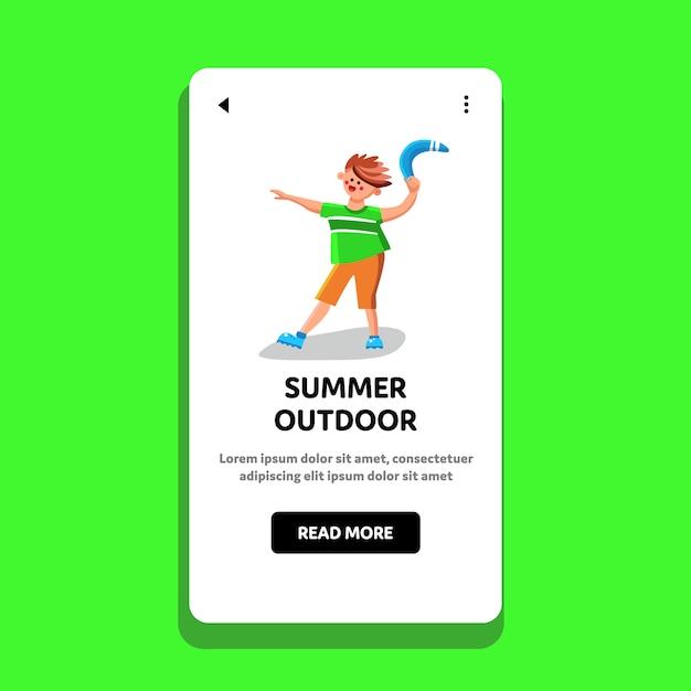 Dispositivo di gioco estivo all'aperto tenere teenager Vettore Premium