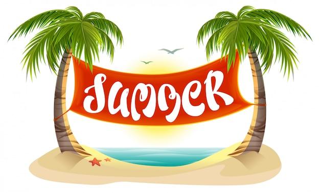Riposo estivo. palme tropicali, mare, spiaggia. banner di testo lettering estate Vettore Premium