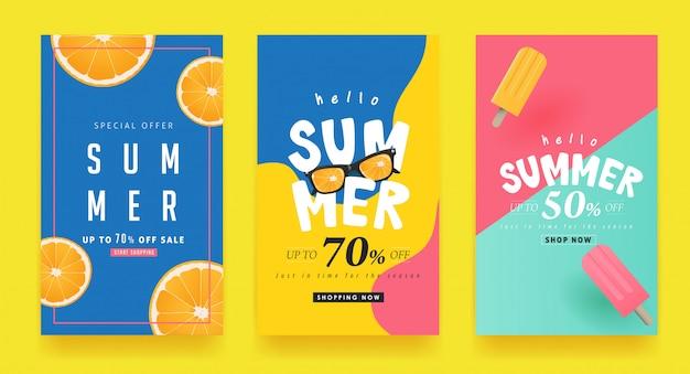 Sconto del layout delle insegne del fondo della vendita di estate. Vettore Premium