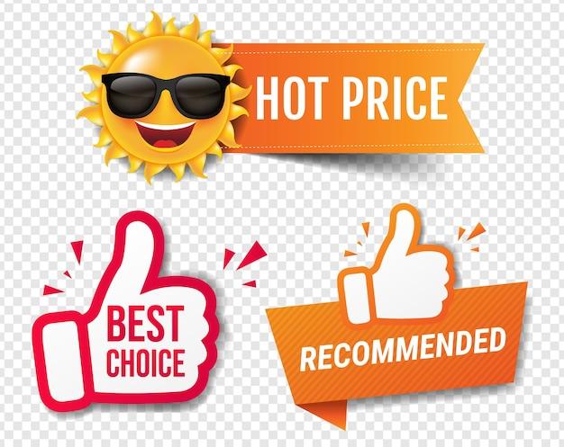 Banner di saldi estivi consigliato con i pollici in su sfondo trasparente Vettore Premium