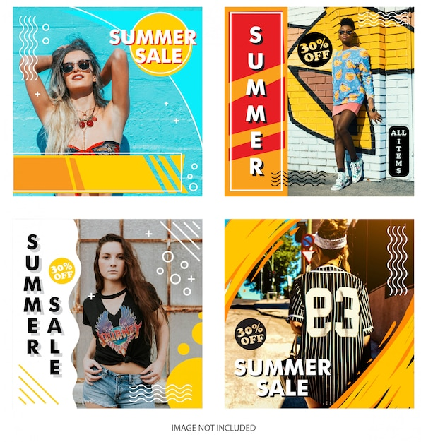 Modello di negozio instagram di vendita estiva Vettore Premium