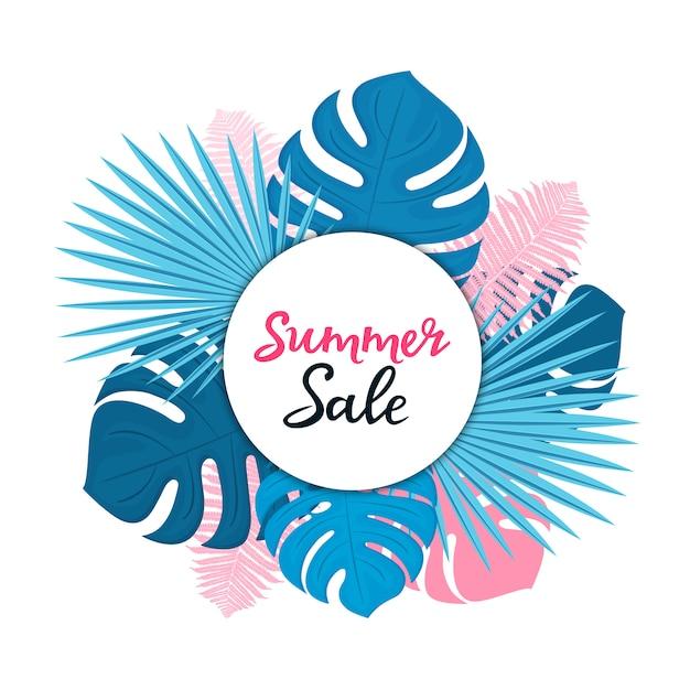 Modello di vendita estiva per sconti stagionali. poster floreali o banner design con foglie di palma, monstera e felce Vettore Premium