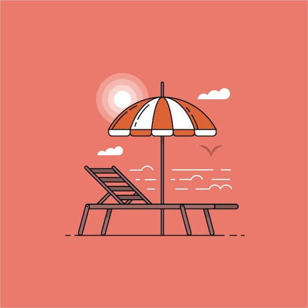 Paesaggio estivo mare con ombrellone e sdraio al tramonto in design piatto. Vettore Premium