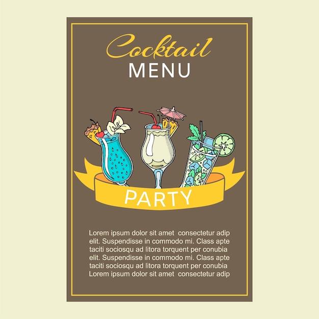 Cocktail rinfrescanti frizzanti estivi o primaverili con carta di ombrelli di carta Vettore Premium