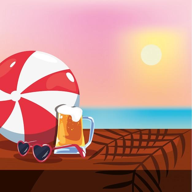 Illustrazione di vacanze estive con birra, occhiali da sole e vista sul mare Vettore Premium