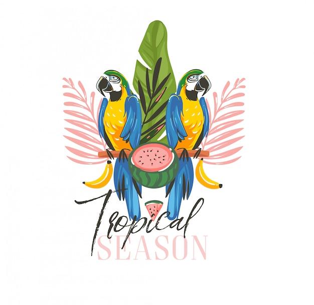 Illustrazioni di ora legale con tropicale esotico con uccelli pappagallo ara della foresta pluviale, anguria e testo stagione tropicale isolato su sfondo bianco Vettore Premium