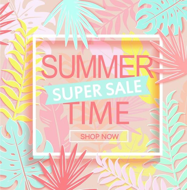 Banner di super sale in estate. Vettore Premium