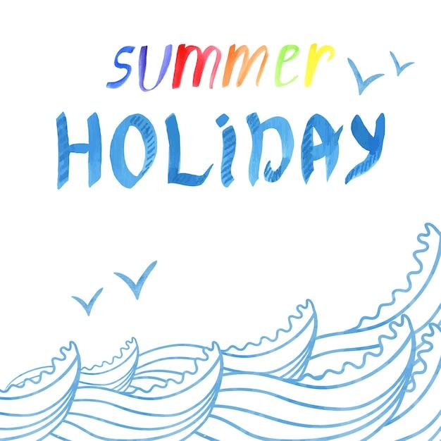 Sfondo tropicale estivo con onde del mare, uccelli e scritte da acquerello summer holiday.vector illustrazione Vettore Premium