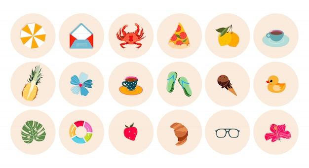 Set di icone di vacanze estive e spiaggia. adesivo estivo rotondo, collezioni di etichette. illustrazioni alla moda per i punti salienti di instagram, web design e stampa. concetto di viaggi e vacanze estive. Vettore Premium