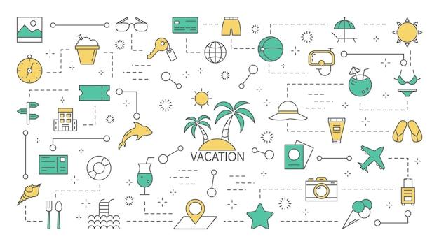 Concetto di vacanza estiva. viaggia in vacanza sulla spiaggia assolata. idea di turismo e viaggio. set di icone colorate di linea. illustrazione Vettore Premium