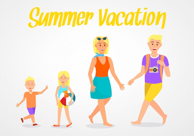 Cartolina di vettore di viaggio dell'iscrizione di vacanza estiva. Vettore Premium