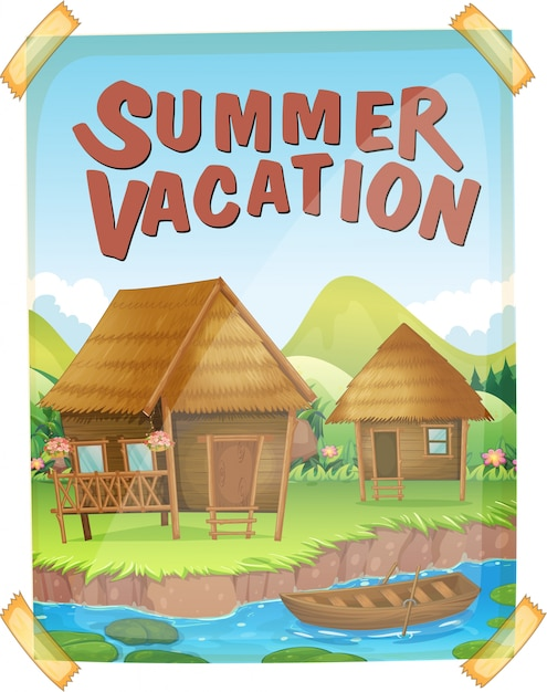 Poster per le vacanze estive con case lungo il fiume Vettore Premium