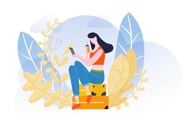 Vacanze estive, composizione semplice, esemplificazione con licenza, belle valigie, illustrazione. elegantemente ragazza, attraente signora elegante, aspetto sorprendente, capelli glamour. Vettore Premium