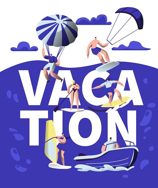 Banner di tipografia di avventura sportiva di vacanze estive. Vettore Premium