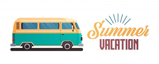 Saluto d'annata praticante il surfing del retro surf bus di vacanze estive Vettore Premium