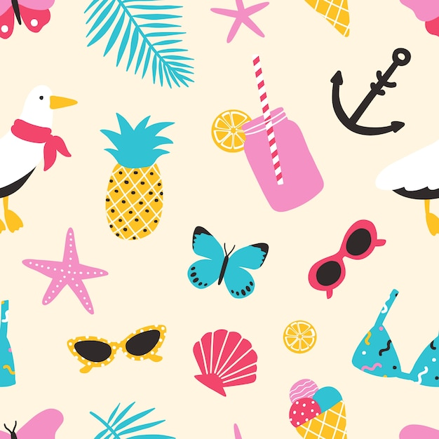 Reticolo senza giunte di estate con frutti esotici, conchiglie, gabbiano, foglie tropicali, occhiali da sole, farfalle. sfondo estivo. Vettore Premium