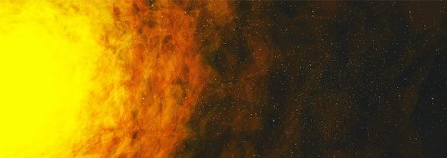 Il sole sullo sfondo dell'universo interstellare Vettore Premium