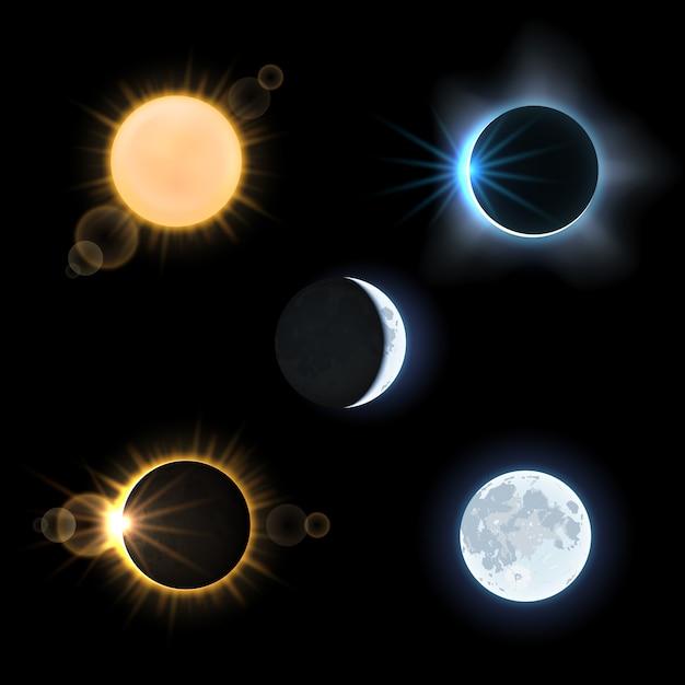Sole e luna e soli e lune eclissano. cielo di astronomia, set di illustrazione vettoriale Vettore Premium