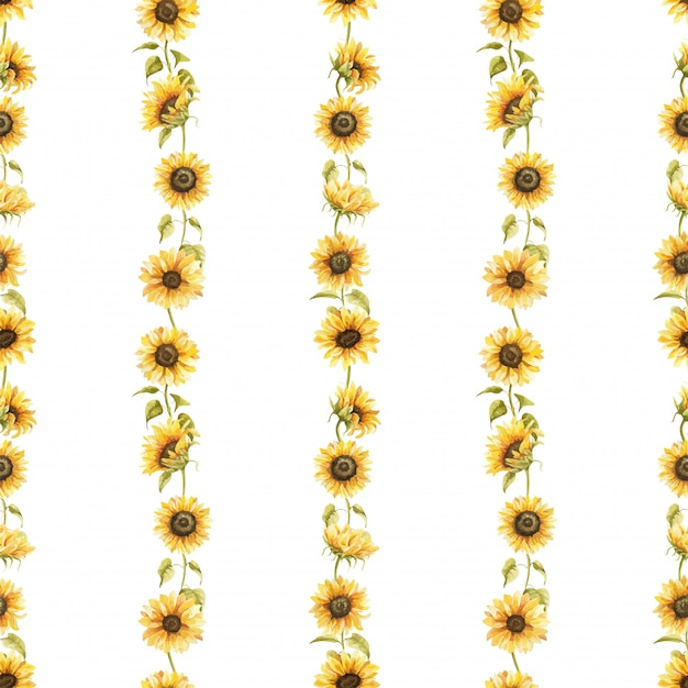 Girasoli acquerello seamless pattern disegnati a mano fiori Vettore Premium