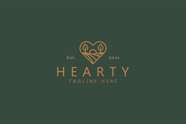 Distintivo di logo dell'illustrazione di alba sulla forma del cuore. logo del marchio di concetto di natura, fattoria e salute. Vettore Premium
