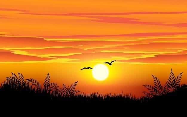 Paesaggio di orizzonte al tramonto con gli uccelli Vettore Premium