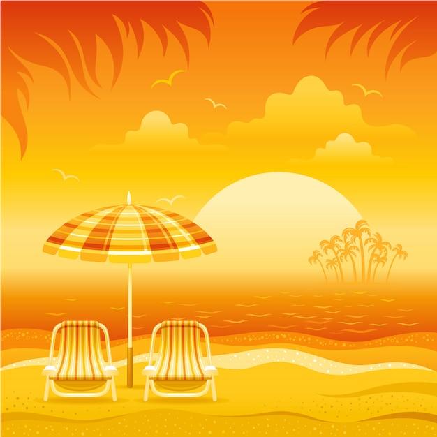 Paesaggio tropicale di tramonto con la spiaggia del mare, l'ombrello del parasole, le sedie, l'isola di palma ed il sole arancio, illustrazione di vettore. Vettore Premium