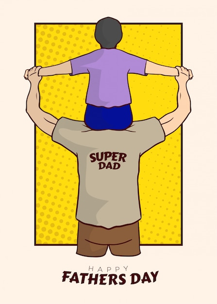 Super dad illustration vector Vettore Premium