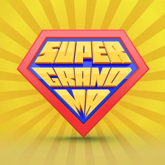 Super nonna. logo della nonna. concetto di giorno della nonna. nonna supereroe. giornata nazionale dei nonni. anziani. tipografia divertente. Vettore Premium