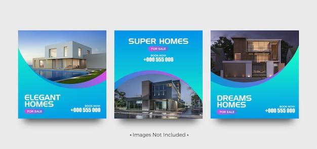 Super casa in vendita modelli di post sui social media Vettore Premium