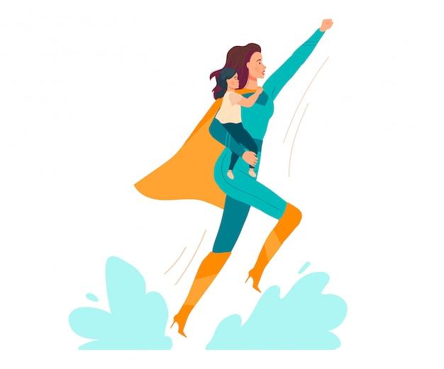 Illustrazione eccellente della mamma, bella giovane madre del fumetto in bambino del bambino della tenuta del costume del supereroe in mani su bianco Vettore Premium