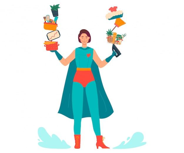 L'illustrazione eccellente della mamma, bella giovane madre del fumetto in costume del supereroe fa il lavoro domestico multitasking su bianco Vettore Premium