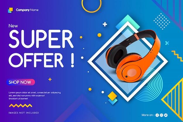 Banner di vendita super offerta Vettore Premium