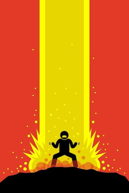Super power man in carica in stile anime Vettore Premium