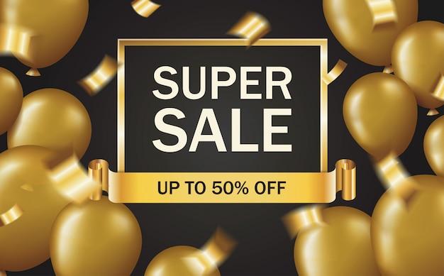 Banner di vendita super con mongolfiere dorate e coriandoli. vendita di modello offerta in cornice oro e nastro su sfondo nero Vettore Premium