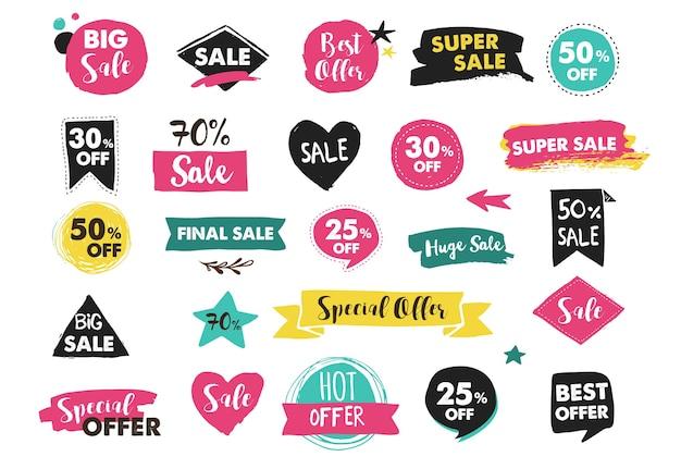 Super vendita etichette, modernticker e tag modello di progettazione Vettore Premium