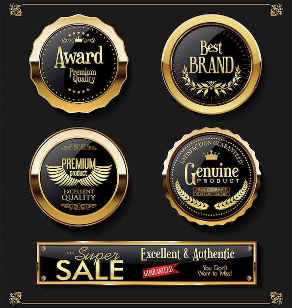 Collezione vintage retrò etichette di super vendita vettoriale Vettore Premium