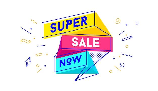 Super vendita. banner di vendita con testo super vendita per emozione, motivazione Vettore Premium