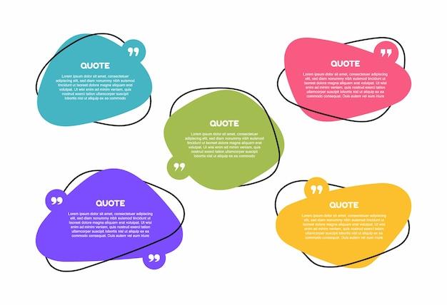 Super impostare diverse caselle di testo geometriche di forma. bolla di discorso di casella di citazione colorata. illustrazione moderna. Vettore Premium