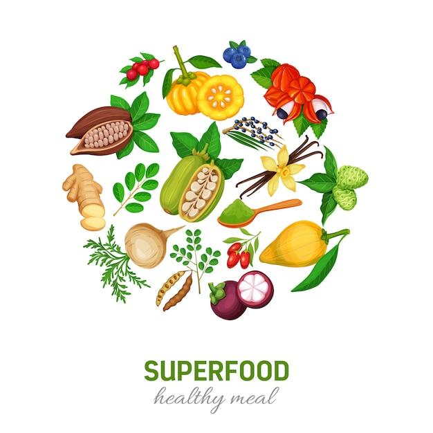 Set di icone di superfood. Vettore Premium