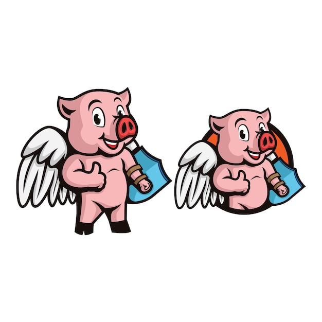 Maiale supereroe con ali e scudo sulla mano che fa i pollici in su logo personaggio mascotte. Vettore Premium