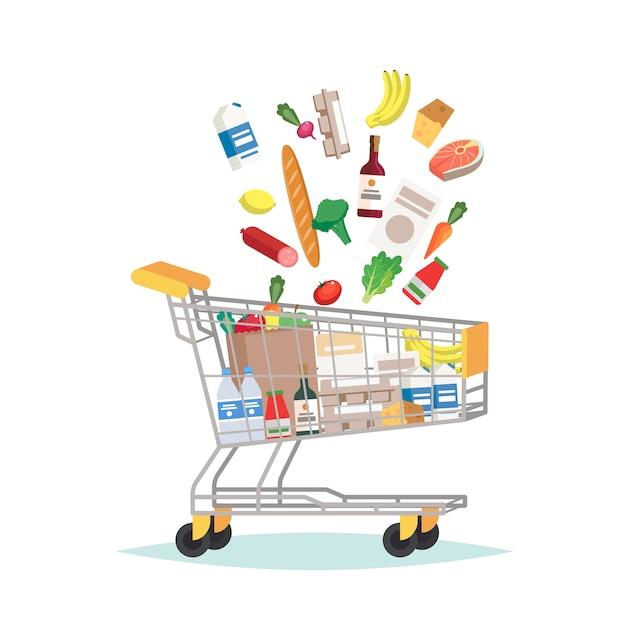 Carrello della spesa del supermercato con diversi generi alimentari Vettore Premium