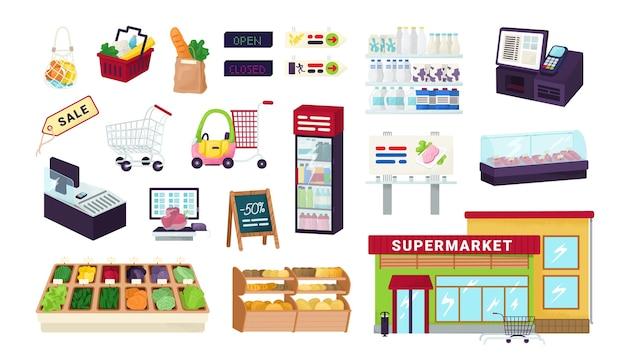 Supermercato, drogheria, icone del negozio del mercato alimentare impostato su illustrazioni bianche. mette in mostra scaffali di frutta, verdura, contanti, cestino della spesa, carrelli e prodotti. assortimento di supermercati. Vettore Premium